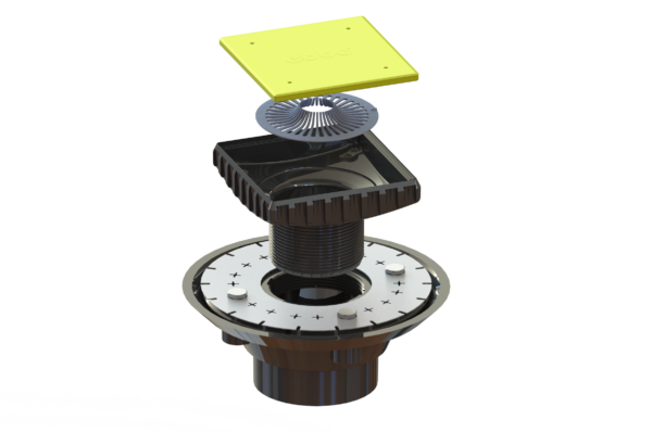 ABS Clamp Collar Drain Kit - (ABS Clamp Collar Drain Base and Ebbe Square Riser)