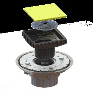 PVC Clamp Collar Drain Kit - (PVC Clamp Collar Drain Base and Ebbe Square Riser)
