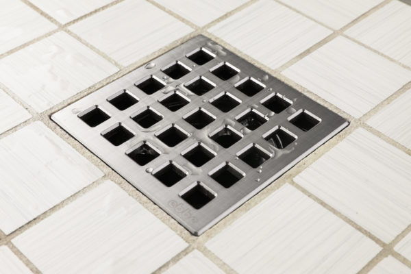 E4803-BS - Ebbe UNIQUE Drain Cover - QUADRA - Brushed Stainless Steel - Shower Drain - aw