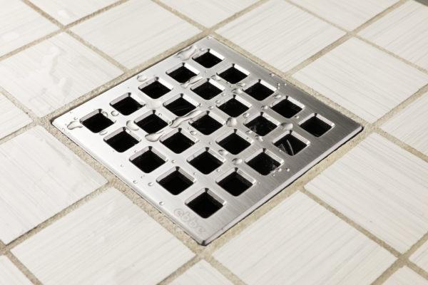 E4803-SS - Ebbe UNIQUE Drain Cover - QUADRA - Satin Stainless Steel - Shower Drain - aw