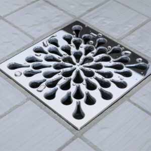 E4805-PS - Ebbe UNIQUE Drain Cover - SPLASH - Polished Stainless Steel - Shower Drain - e