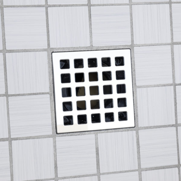 E4803-PS - Ebbe UNIQUE Drain Cover - QUADRA - Polished Stainless Steel - Shower Drain - ad