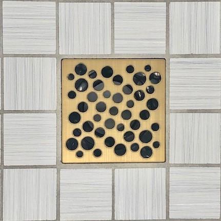 BUBBLES - Brushed Gold - Unique Drain Cover