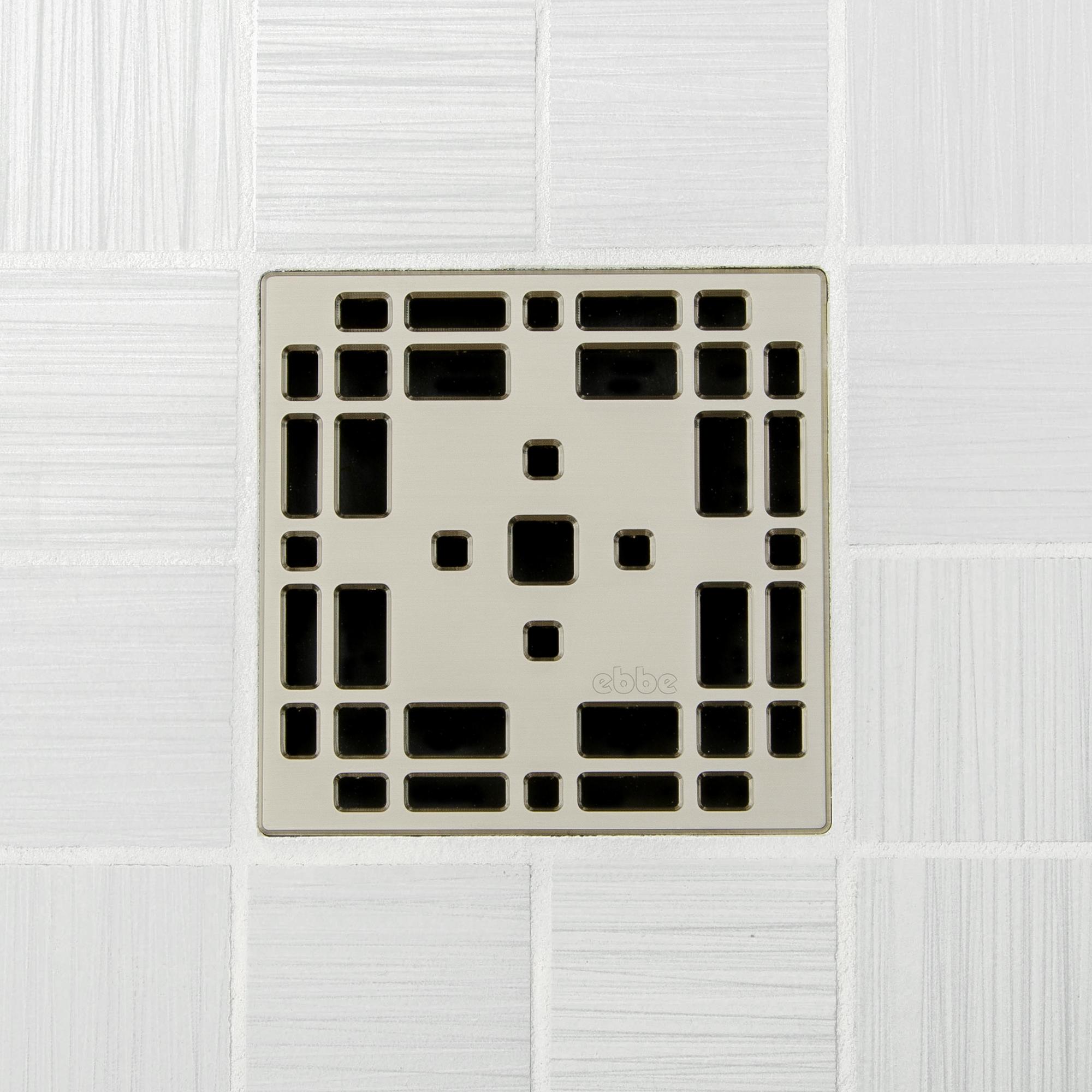 E4801-SN - Ebbe UNIQUE Drain Cover - PRAIRIE - Satin Nickel - Shower Drain td