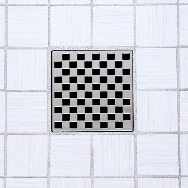 E4807-SN - Ebbe UNIQUE Drain Cover - WEAVE - Satin Nickel - Shower Drain - tdd