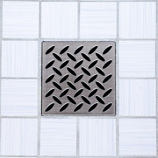 E4813-BN - Ebbe UNIQUE Drain Cover - DIAMOND - Brushed Nickel - Shower Drain - e