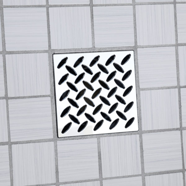 E4813-PC - Ebbe UNIQUE Drain Cover - DIAMOND - Polished Chrome - Shower Drain - ad