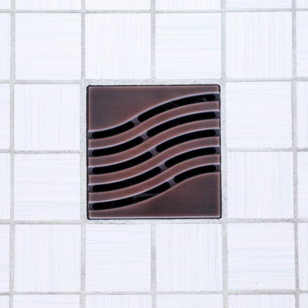E4814-ORB - Ebbe UNIQUE Drain Cover - TSUNAMI - Oil Rubbed Bronze (PVD) - Shower Drain - tdd