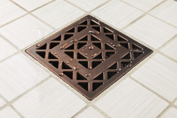 E4802-ORB - Ebbe UNIQUE Drain Cover - LATTICE - Oil Rubbed Bronze (PVD) - Shower Drain - aw