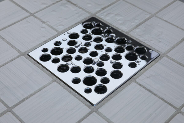 E4812-PS - Ebbe UNIQUE Drain Cover - BUBBLES - Polished Stainless Steel - Shower Drain - aw